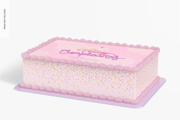 Mockup de bolo quadrado, vista em perspectiva