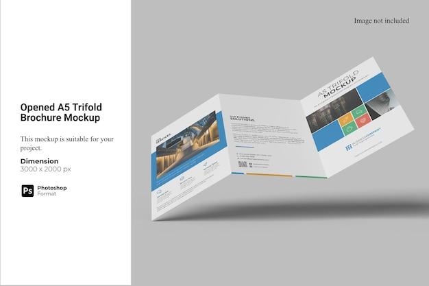 Mockup de brochura com três dobras a5 aberto
