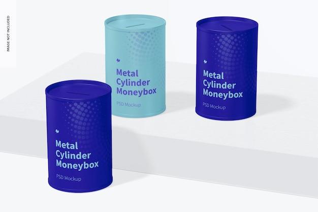Mockup de caixa de dinheiro de cilindro de metal