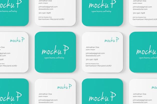 Mockup de cartão de visita quadrado de canto redondo