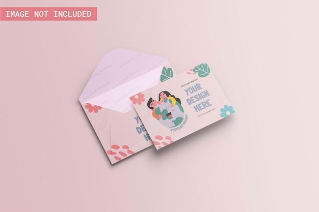 Mockup de cartão postal ângulo esquerdo vie