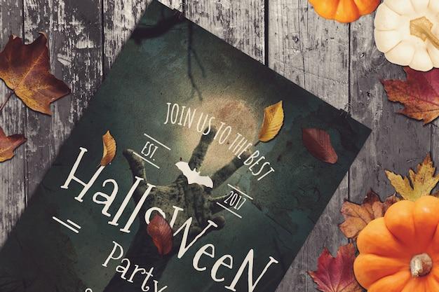 Mockup de cartaz de festa com design de halloween