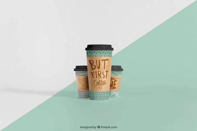 Mockup de copos de café