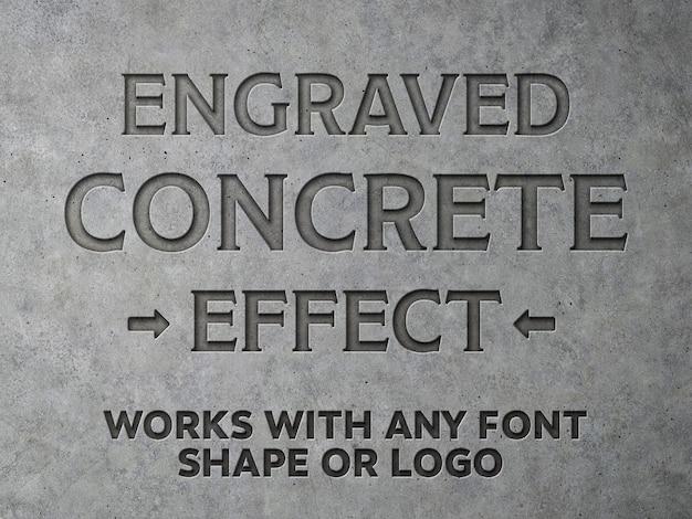 Mockup de efeito de texto de concreto gravado