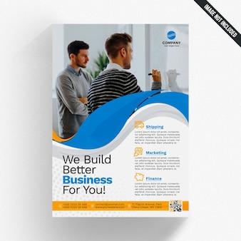 Mockup de folheto empresarial ondulado criativo