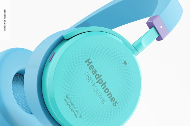 Mockup de fones de ouvido, close-up