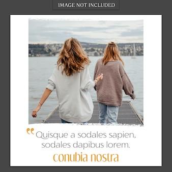 Mockup de foto moderna e instagram modelo de história para perfil de mídia social