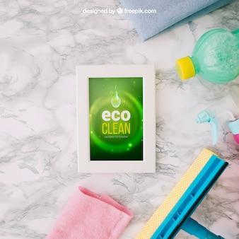 Mockup de limpeza ecológica