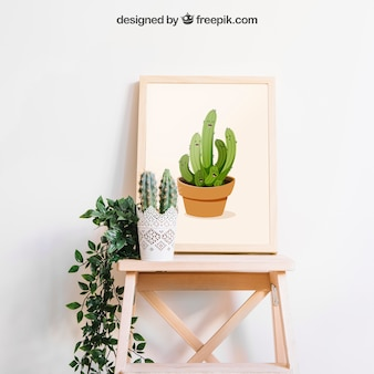Mockup de moldura com cactus