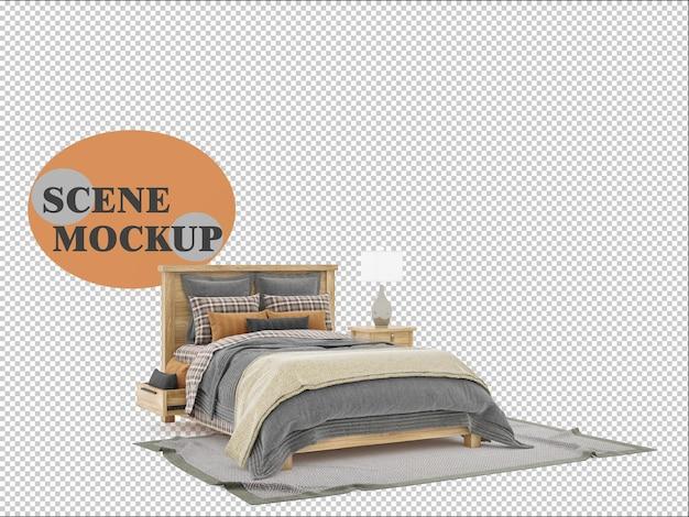 Mockup de móveis de madeira para quarto em renderização 3d
