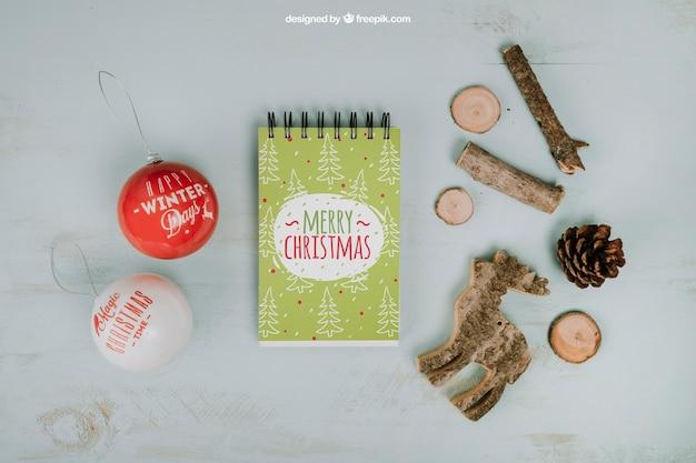 Mockup de natal com bloco de notas