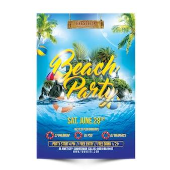 Mockup de panfleto de festa de praia