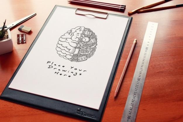 Mockup de papel de desenho