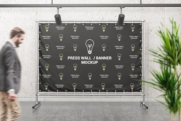 Mockup de parede de imprensa