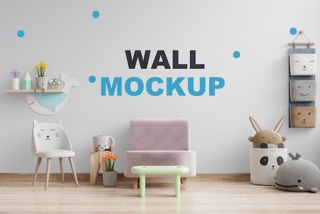 Mockup de parede na sala das crianças renderização 3d