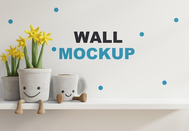 Mockup de parede no quarto das crianças na prateleira branca renderização 3d