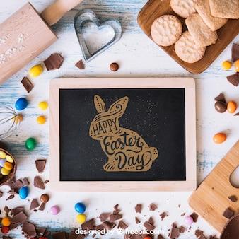 Mockup de páscoa com ardósia e conceito de culinária