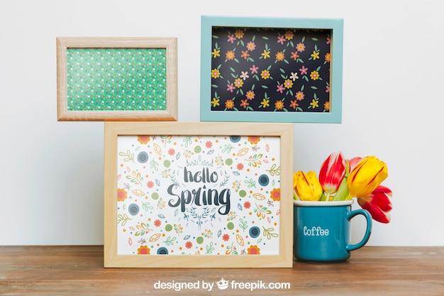 Mockup de primavera com três quadros