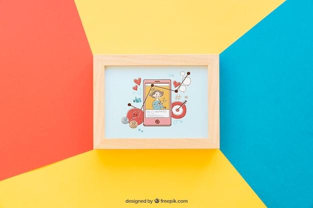 Mockup de quadro colorido