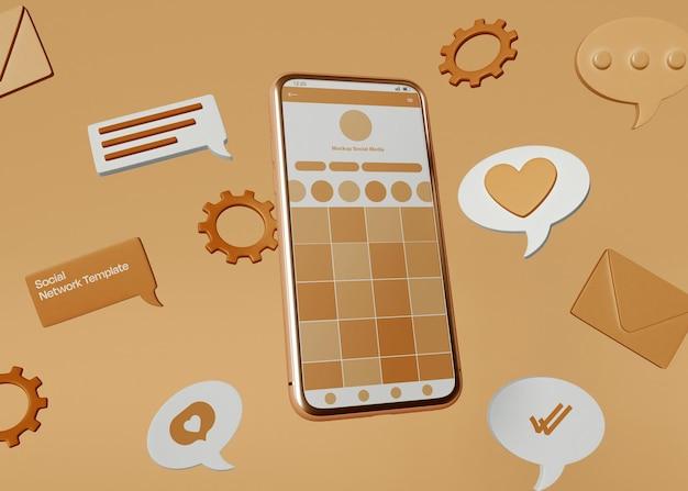 Mockup de smartphone de mídia social