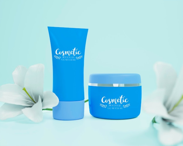 Mockup de sortimento de produtos cosméticos