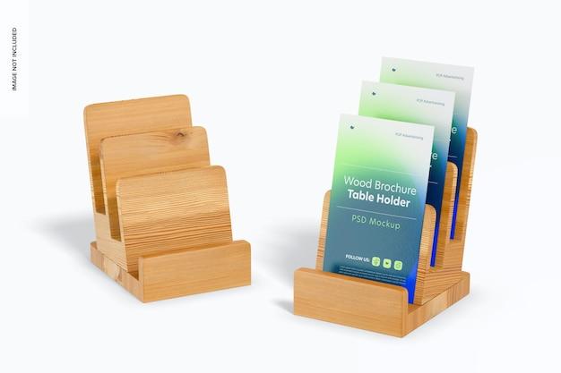 Mockup de suportes de mesa para brochura de madeira