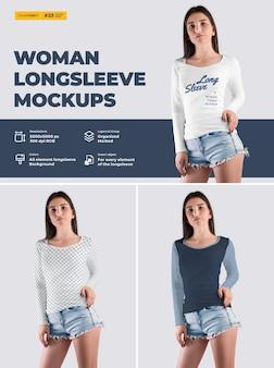 Mockup de t-shirt de mulher de manga comprida. o design é fácil em personalizar imagens de design t-shirt (t-shirt e manga), cor de todos os elementos thsirt, textura urze.