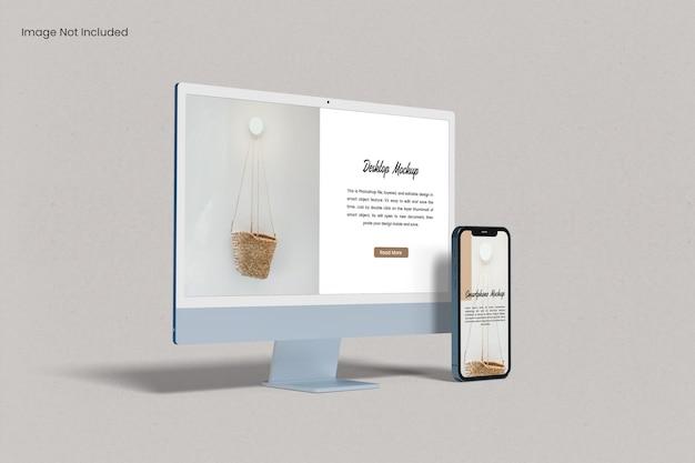 Mockup de tela de site com capacidade de resposta para vários dispositivos