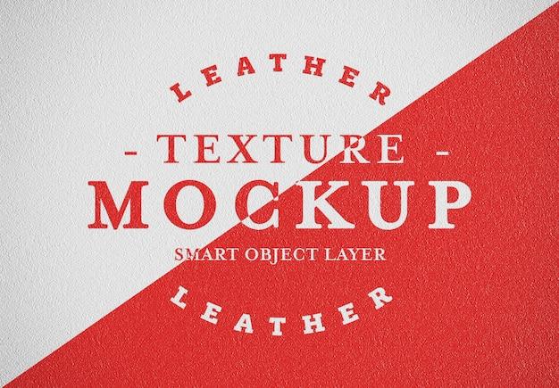 Mockup de textura de couro impresso
