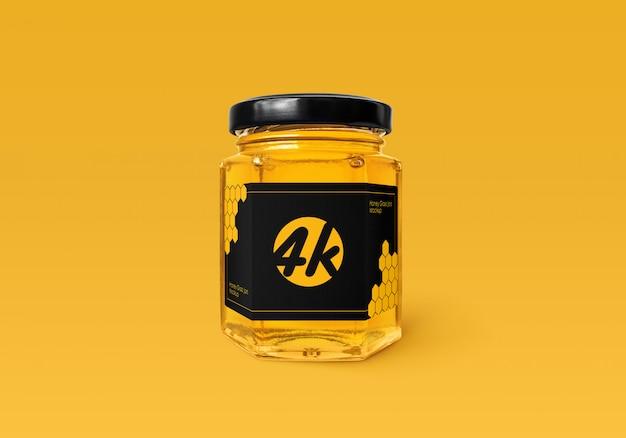 Mockup de vidro com mel