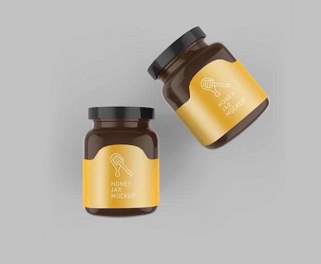 Mockup de vista superior do frasco de vidro de mel