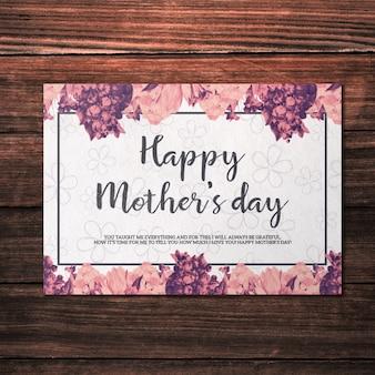 Mockup do cartão do dia das mães com flores rosa
