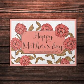 Mockup do cartão do dia das mães com flores vermelhas