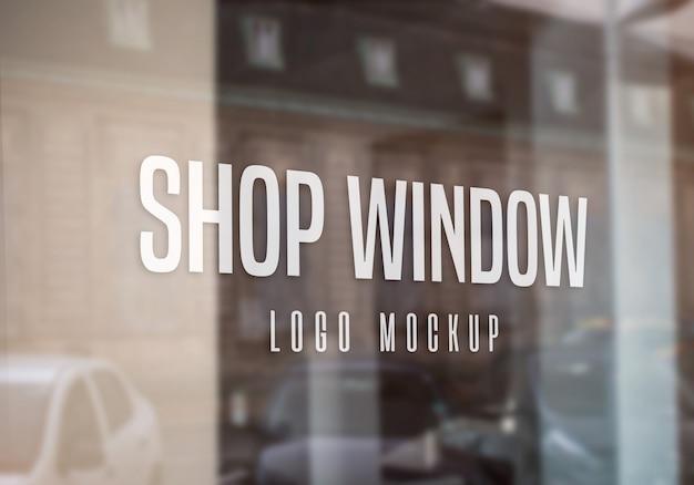 Mockup do logotipo da janela da loja