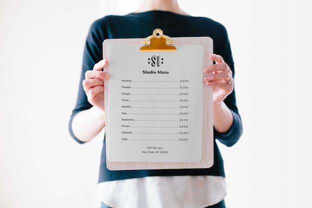 Mockup do menu da área de transferência