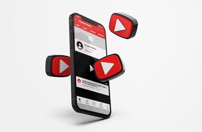 Mockup do youtube no celular com ícones 3d