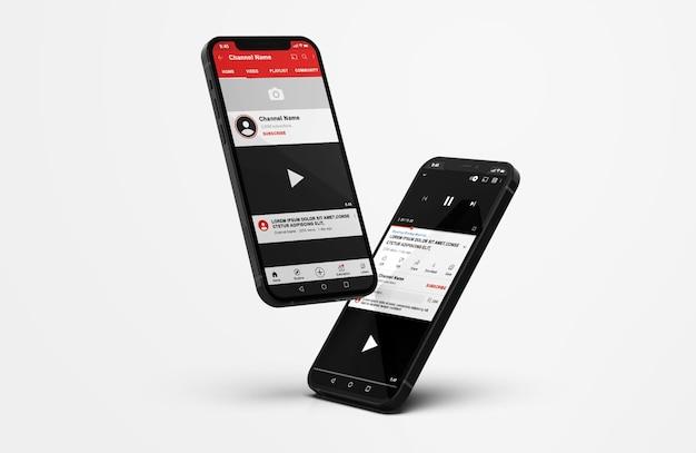 Mockup do youtube no celular Psd grátis