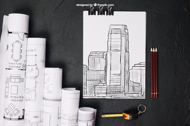 Mockup empresarial com desenhos