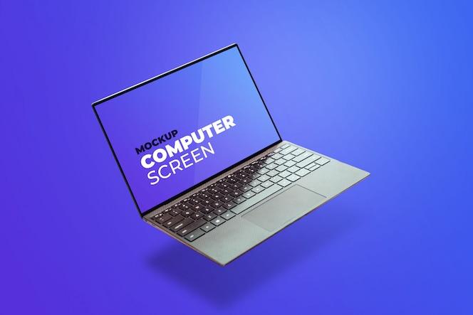 Mockup flutuante cinza para laptop