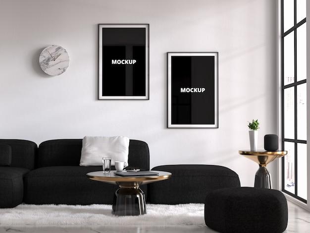 Mockup interior com dois quadros