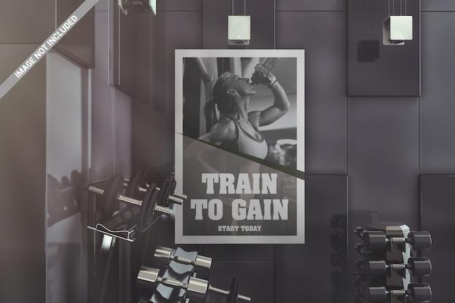 Mockup interior do poster do gym da parede