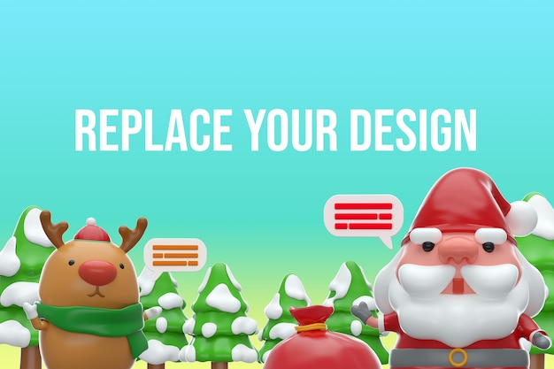 Mockup merry chistmas design 3d rendering