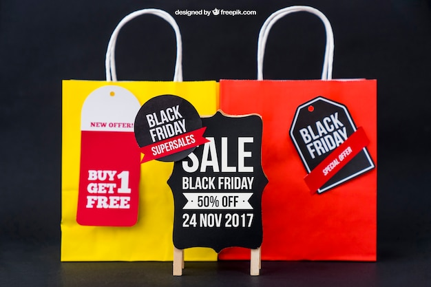 Mockup para sexta-feira negra com bolsas