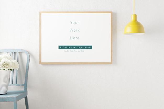 Mockup photo frame decoração minimalista da escandinávia em renderização 3d
