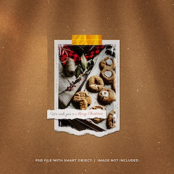 Mockup polaroid de foto rasgada de postagem nas redes sociais de natal