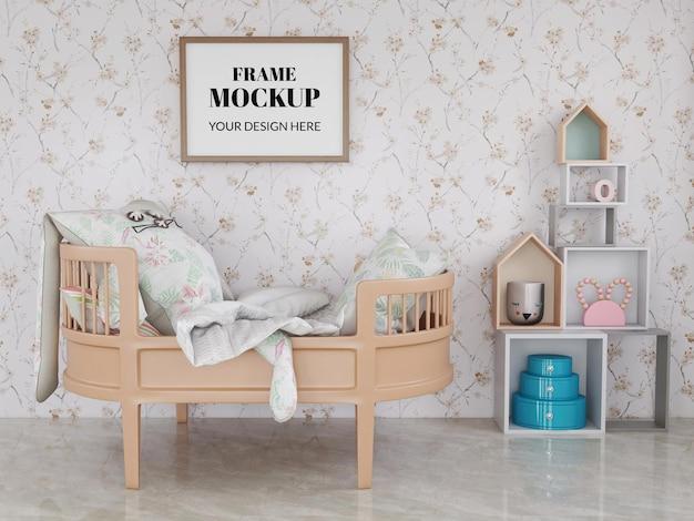 Mockup realista de moldura de foto no quarto