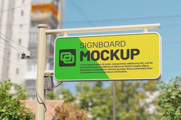 Mockup street signboard com a construção de fundo