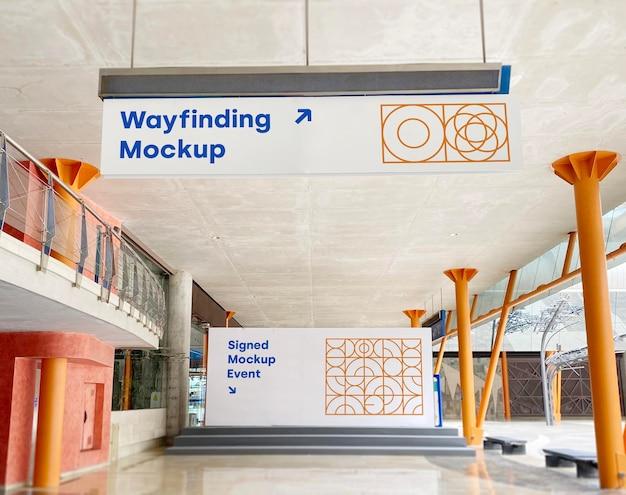 Mockup wayfinding e promoção de evento em outdoor