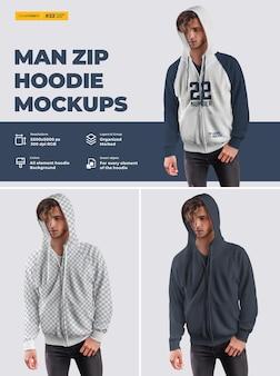 Mockups com capuz e zíper masculino. design é fácil em personalizar imagens design de capuz (torso, capuz, manga, bolso), capuz com cores de todos os elementos, textura urze. Psd Premium