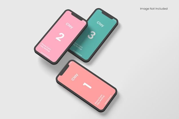 Mockups de aplicativos de argila para smartphone